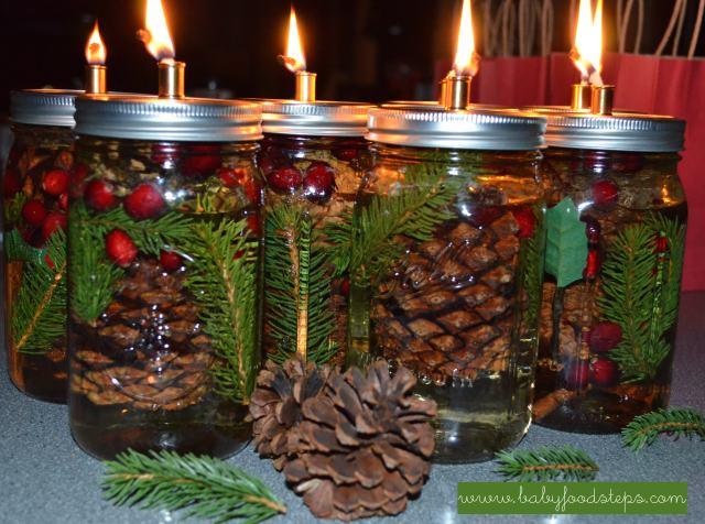 mason jar candle lit